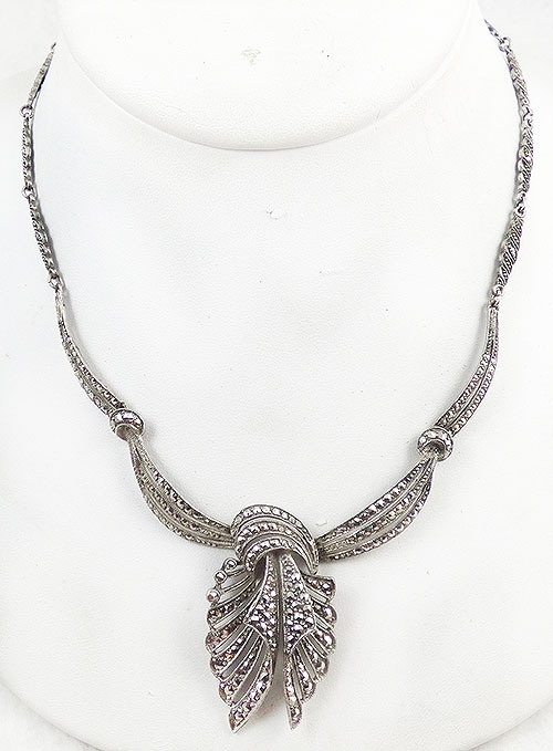 Germany - Silver Marcasite Ribbon Knot Necklace