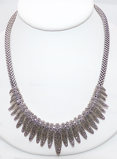 Marcasite Jewelry - Sterling Silver Marcasite Necklace