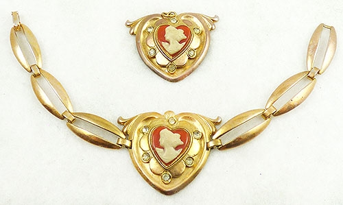 Newly Added Heart Cameo Bracelet and Pendant Demi-Parure