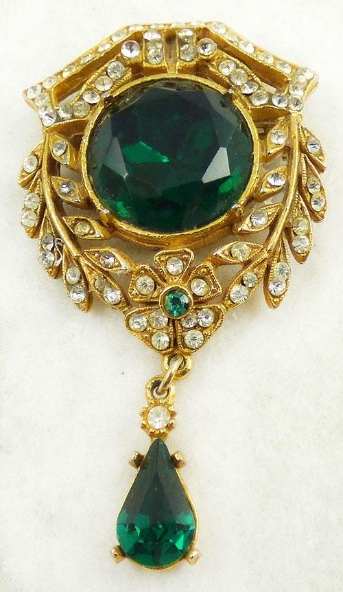 Art - Art Victorian Revival Emerald Rhinestone Brooch