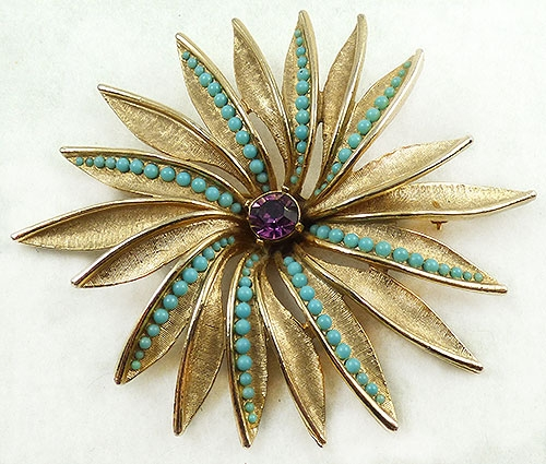 Newly Added Art Huge Gold Flower Brooch