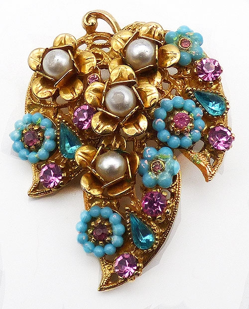 Art - Art Golden Leaf and Flowers Brooch
