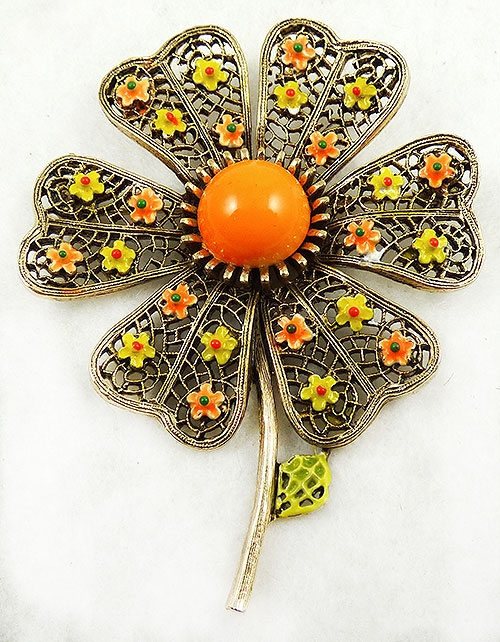 Newly Added Art Filigree Enamel Flower Brooch
