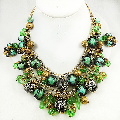 Newly Added Hobé Tiered Green Beads Necklace Set