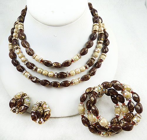 Newly Added Hobé Brown Art Glass Bead Parure