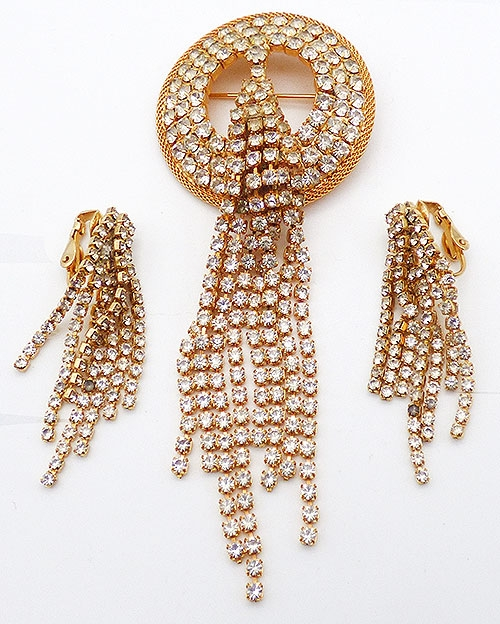 Bridal, Wedding, Special Occasion - Hobé Rhinestone Tassel Brooch Set