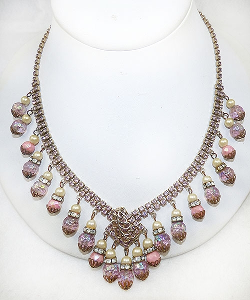 Necklaces - Hobé Pink Rhinestone and Beads Necklace