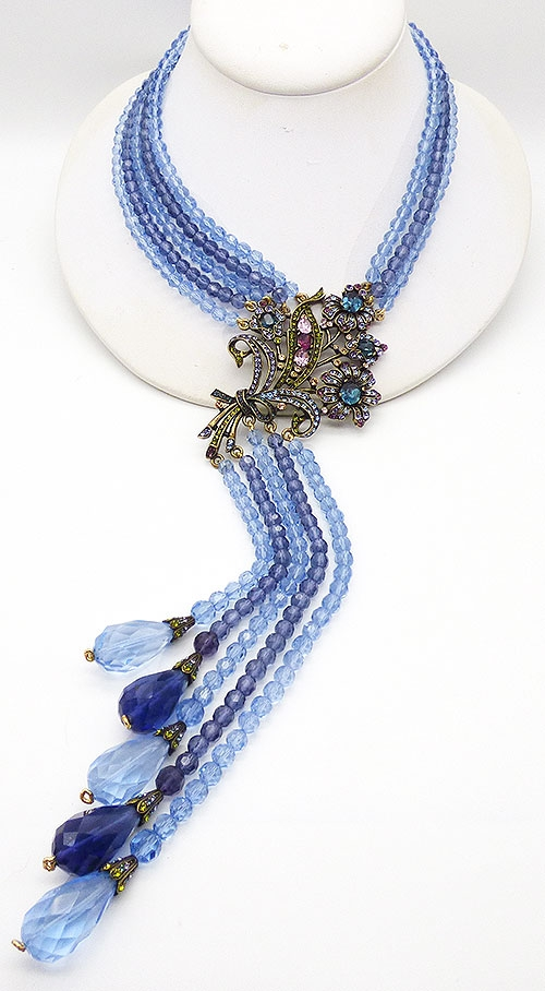 Daus, Heidi - Heidi Daus Blue Crystal Bouquet Necklace