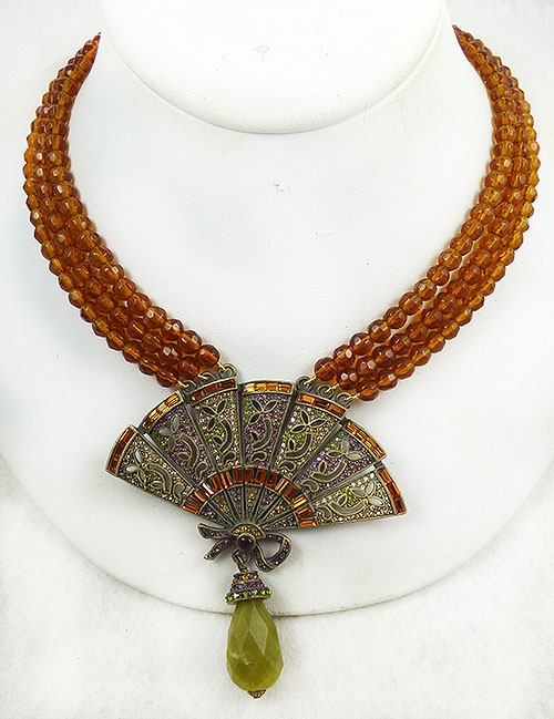Newly Added Heidi Daus Amber Chinoiserie Fan Necklace