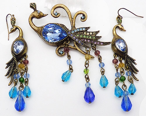 Newly Added Heidi Daus Peacock Brooch Set