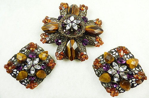 Newly Added Maya Evangelista Tiger Eye Maltese Cross Brooch Set