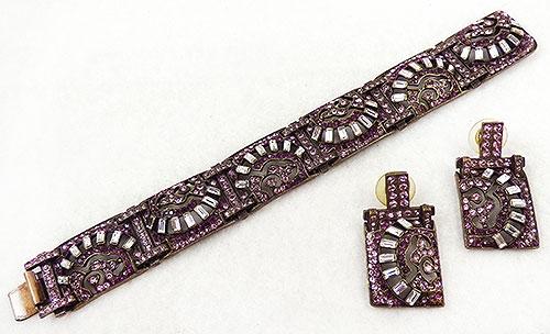 Misc. Signed S-Z - Sweet Romance Amethyst Art Deco Bracelet Set
