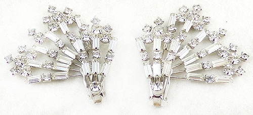 Newly Added Clear Rhinestone Baguette Spray Earrings