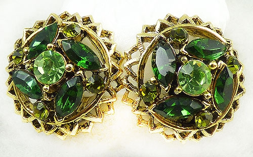 Earrings - Green Rhinestone Domed Earrings
