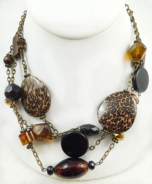 Autumn Fall Colors Jewelry - Signed Brown Glass and Leopard Bead Tiered Necklace