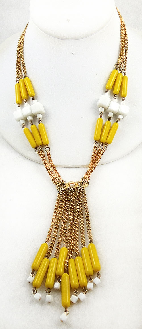 Newly Added Yellow and White Beads Tassel Necklace
