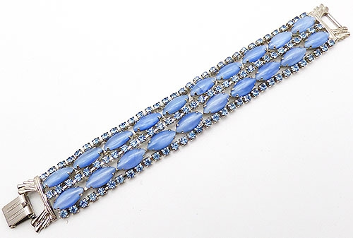 Newly Added Blue Glass Moonstone and Rhinestone Bracelet