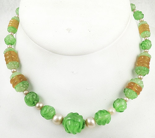 Newly Added Art Deco Green Glass Bead Necklace