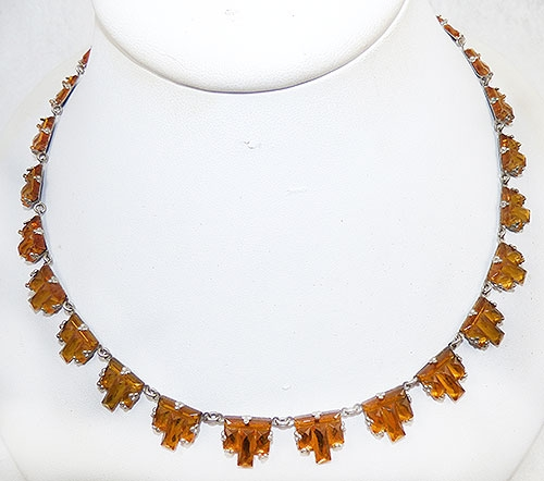 Newly Added Czech Golden Topaz Vauxhall Glass Necklace