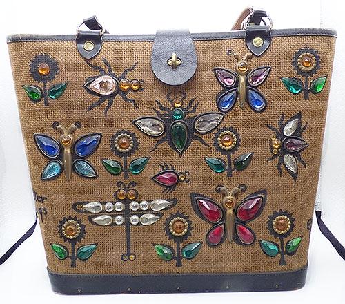 Figural Jewelry - Butterflies & Bugs - Enid Collins Glitter Bugs II Bucket Purse