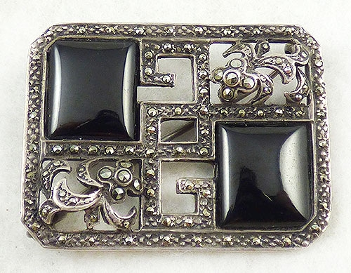 Newly Added Art Deco Style Silver Marcasite Brooch