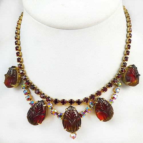 Newly Added Red Molded Glass and Rhinestone Necklace