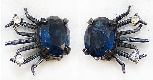 Newly Added Dark Sapphire Glass Japanned Earrings