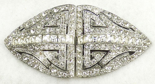 Newly Added Coro Art Deco Rhinestone Duette Separable Brooch
