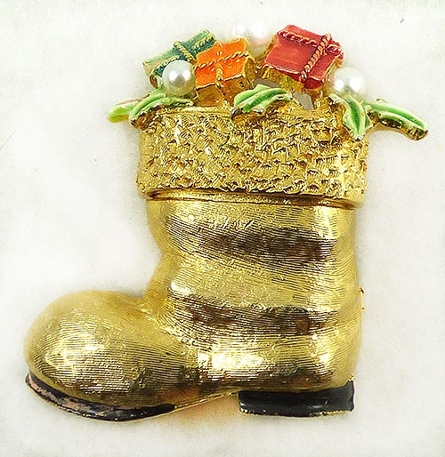 Newly Added Art Santa's Gold Tone Boot Brooch