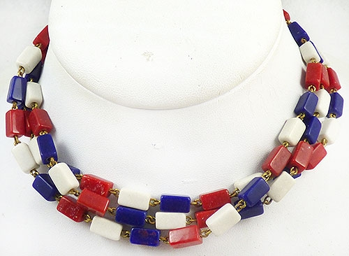 Necklaces - Patriotic Red White Blue Bead Triple Necklace