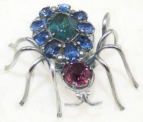 Brooches - Czech Rhinestone Spider Brooch
