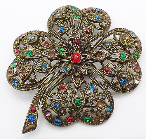 Newly Added Rhinestone 4-Leaf Clover Brooch