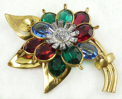 Newly Added Jewel Tone Glass Petals Flower Brooch