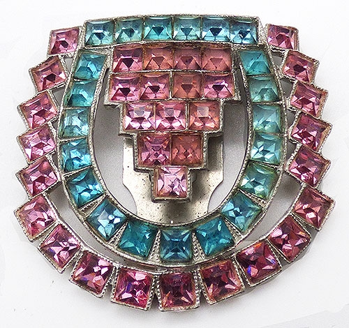 Newly Added Pink and Aqua Rhinestone Dress Clip