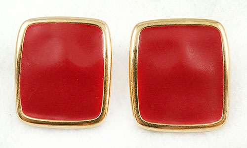 Monet - Monet Red Enamel Square Earrings