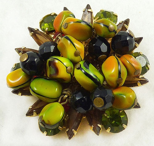 Newly Added DeLizza and Elster Art Glass Bead Brooch