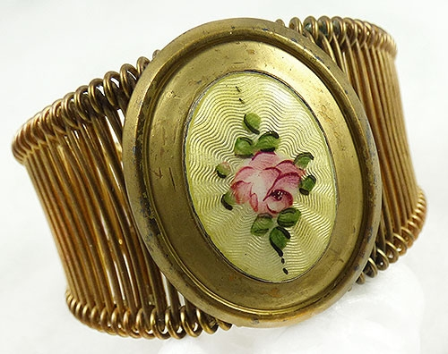 Bracelets - Yellow Guilloche Medallion Wire Wrap Bracelet