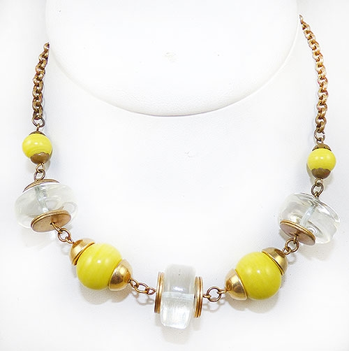 Necklaces - Art Deco Yellow and Clear Glass Bead Necklace