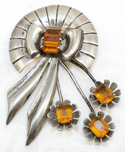 Brooches - Retro Sterling Topaz Spray Brooch