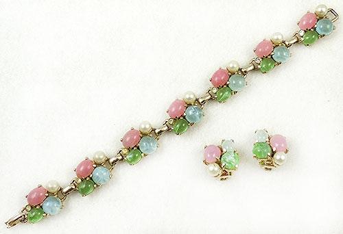 Spring Pastel Jewelry - Pastel Glass Cabochon Bracelet Set