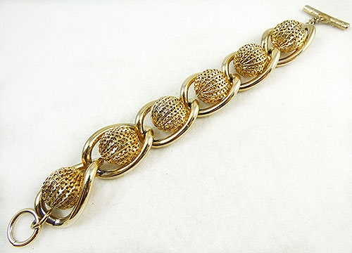 Newly Added Coro Chunky Gold Bead Chain Link Bracelet