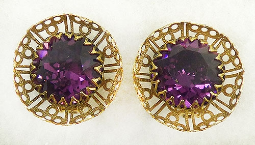 Newly Added Freirich Amethyst Rhinestone Earrings