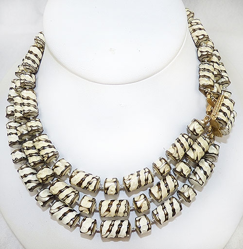 Necklaces - Zebra Stripe Beads Triple Strand Necklace