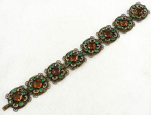 Newly Added Czech Topaz Rhinestone Brass Filigree Bracelet