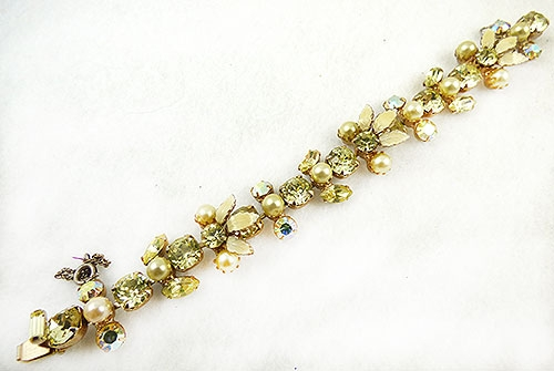 Newly Added Regency Yellow Rhinestone Pearl Bracelet