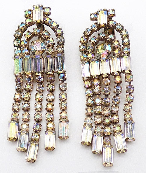 Newly Added Weiss Crystal Aurora Rhinestone Waterfall Earrings