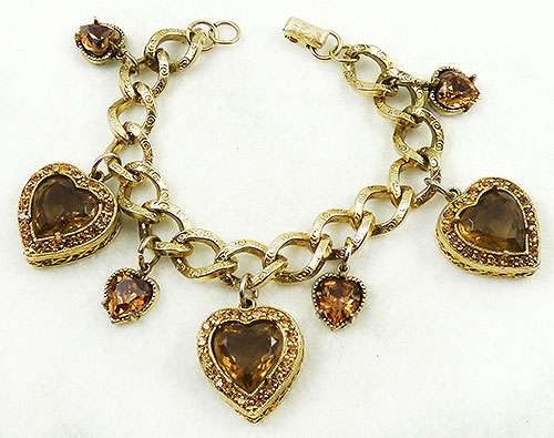 Charm Jewelry - Topaz Rhinestone Hearts Charm Bracelet