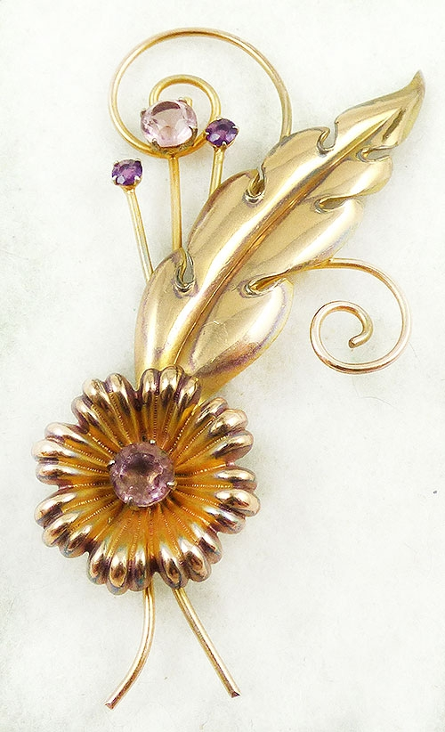 Newly Added I. Michelson Gold Filled Floral Brooch