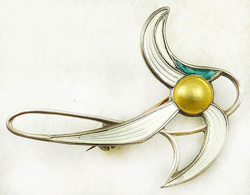 Newly Added Aksel Holmsen Sterling Enamel Flower Brooch