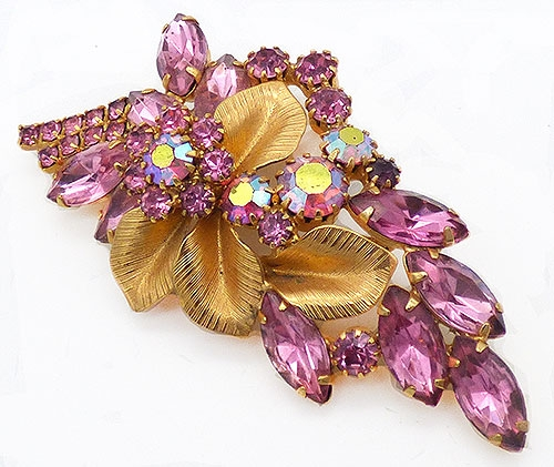 Newly Added Pink Rhinestone and Gold Leaves Brooch